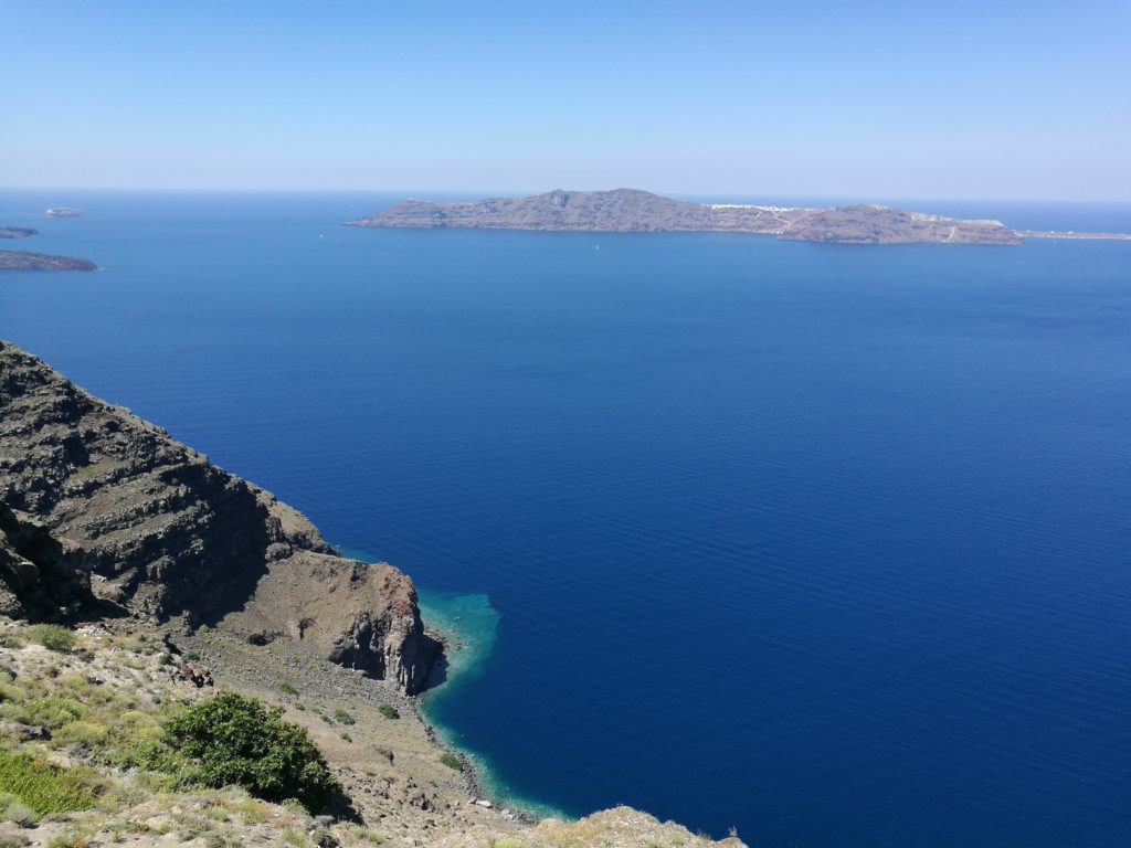 the caldera at Santorini
