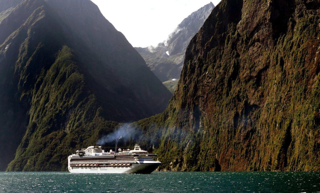 Cruise Ship Steep Mountains