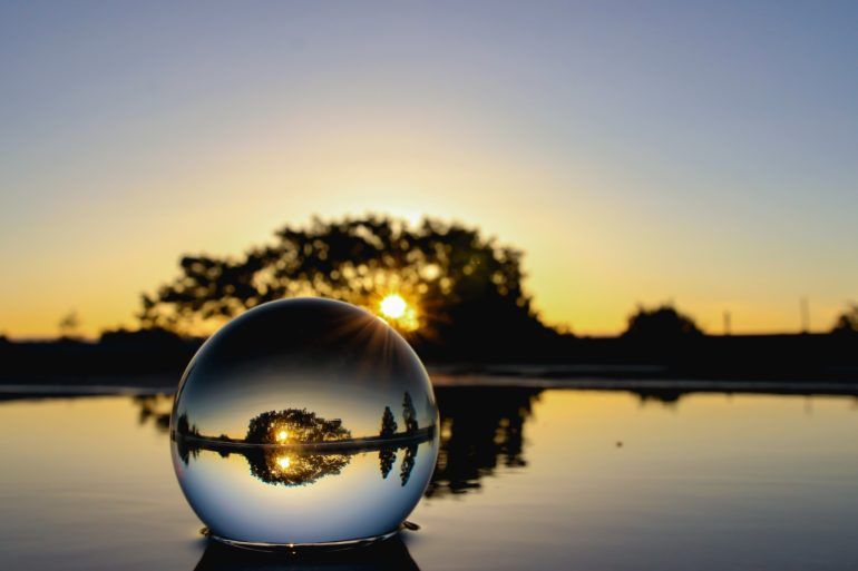 glass ball on water