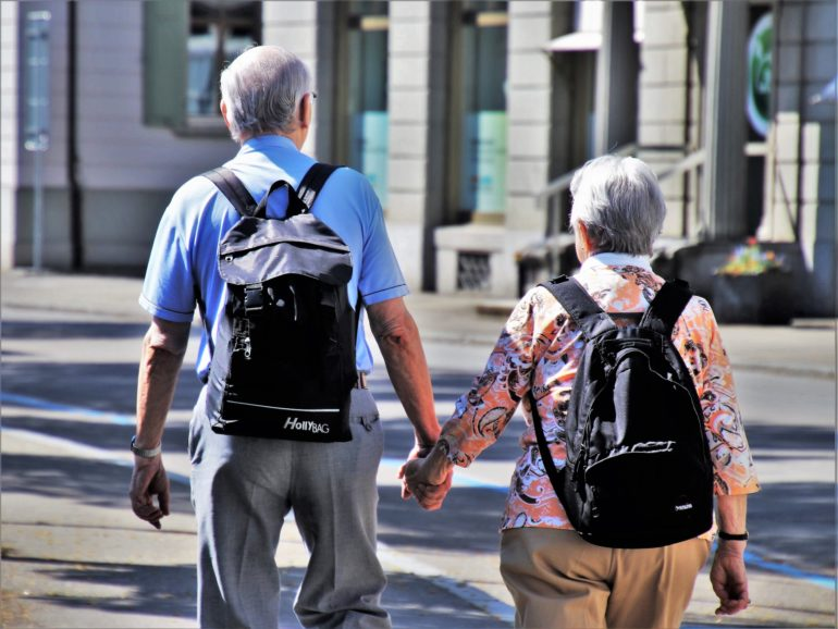 An Over 65 Couple Travelling