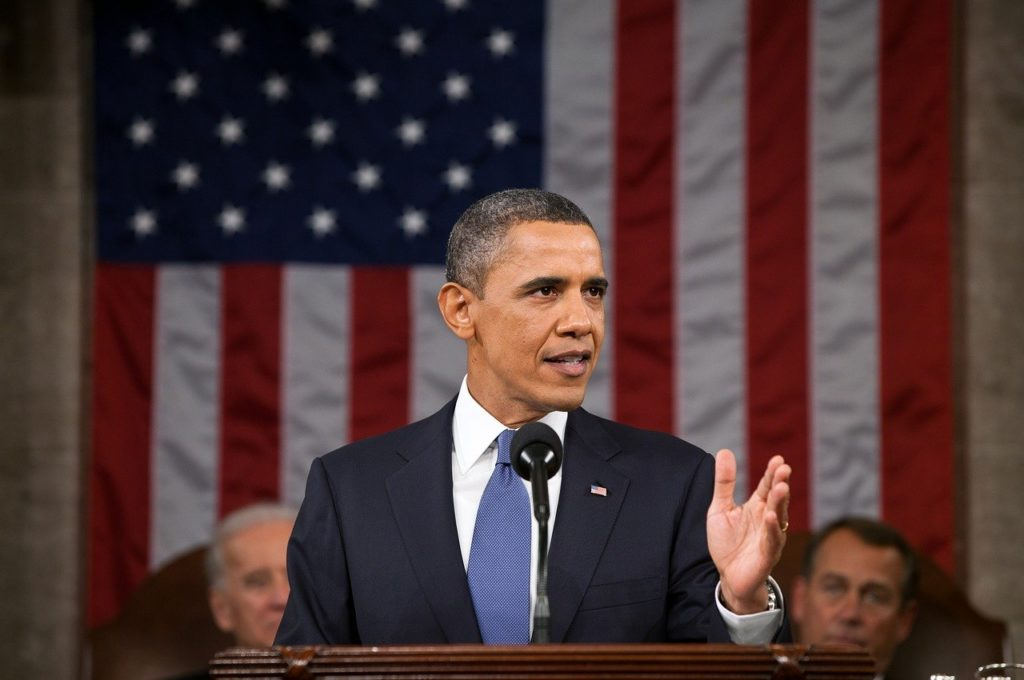 Barack Obama making a speech