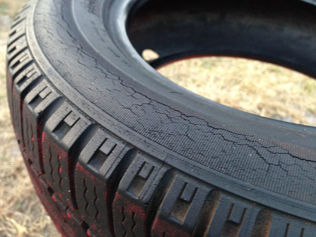 An old tyre with rubber deterioration