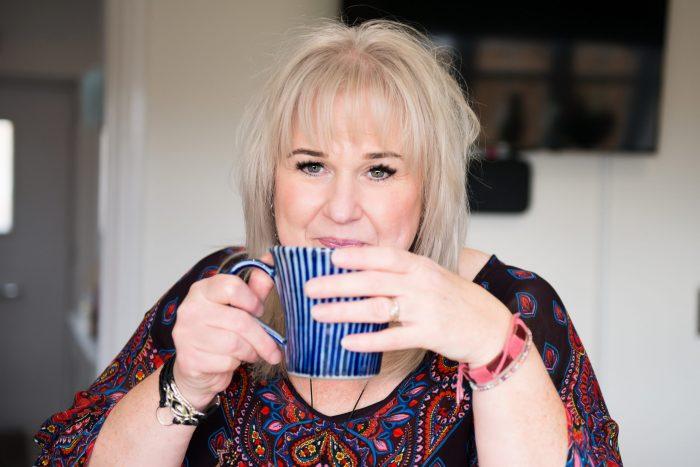 Mandy Nicholson with a cuppa